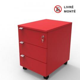 Caisson de rangement rouge qui possède trois tiroirs où vous pouvez ranger des objets et documents de bureau et archives