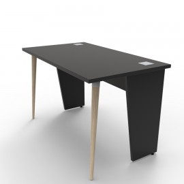 Bureau compact noir avec des panneaux de bois pouvant se décliner en plusieurs coloris afin de correspondre à votre bureau