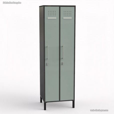 Vestiaire entreprise en bois graphite 2 portes largeur 30 cm