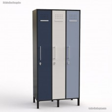 Armoire vestiaire graphite en bois largeur 30 cm et 3 portes