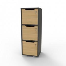 Casier vestiaire bois graphite et chêne doté de rangements avec différents casiers en bois pour du rangement d'objets