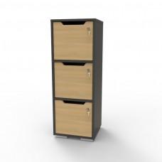 Casier vestiaire bois graphite pour vestiaires d'entreprises