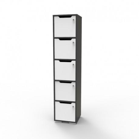 Vestiaire de bureau en bois graphite gamme CASEO 5 cases