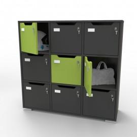 Meuble casier en bois CASEO à 9 cases graphite pour apporter des rangements en casiers fermés par une porte