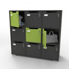 Meuble casier en bois graphite CASEO pour bureau d'entreprise