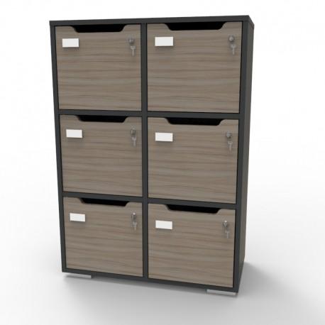 Meuble casier graphite CASEO bois à 6 cases largeur 90 cm