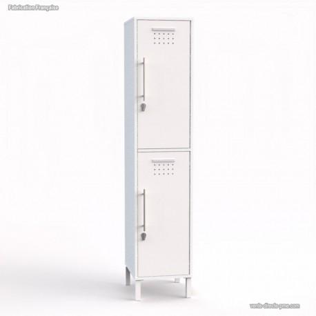 Vestiaire en bois coloris blanc largeur 40 cm - Fabriqué en France