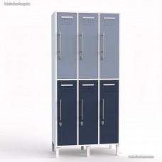 Vestiaire collectif avec casiers blanc de largeur 30 cm