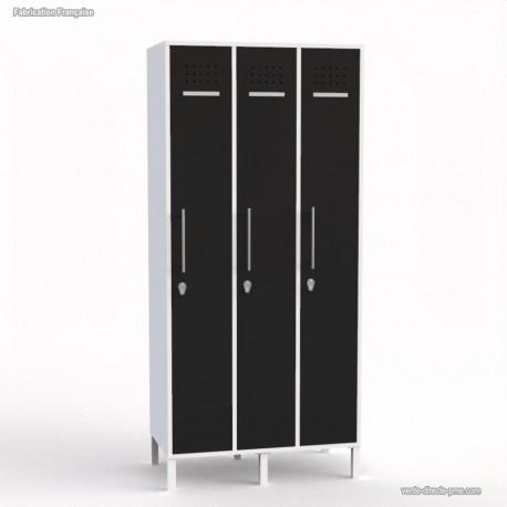 Vestiaire blanc en bois largeur 30 cm pour vêtements et sacs
