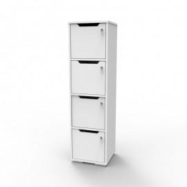 Casier rangement bois blanc CASEO avec 4 cases qui est livré monté dans des salles de sport et salles de fitness