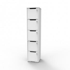 Casier pour bureau bois blanc avec 5 cases livré monté en entreprise et fermé par des portes avec des serrures à clé