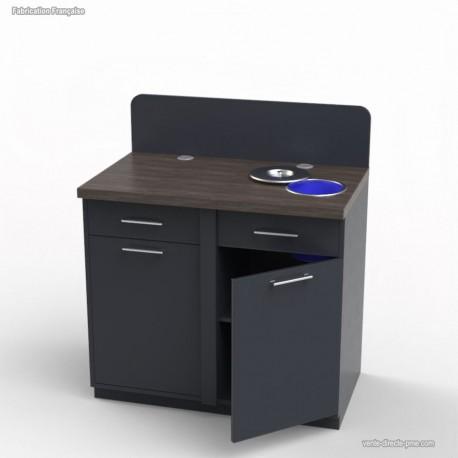 Meuble Cafeteria graphite avec poubelle table