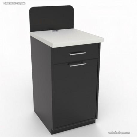 Meuble buffet compact graphite avec poubelle basculante