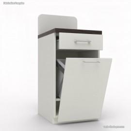 Meuble buffet compact avec poubelle basculante blanc et wengé idéal pour la gestion des déchets dans un réfectoire