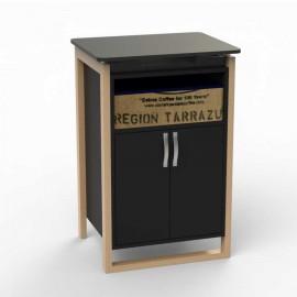 Meuble pour machine a café, noir ou blanc, piètements bois massif, option plateau et tiroir panier