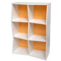 Etagère de bureau en bois pour rangement avec fonds de couleur orange pour les entreprises avec vestiaires collectifs