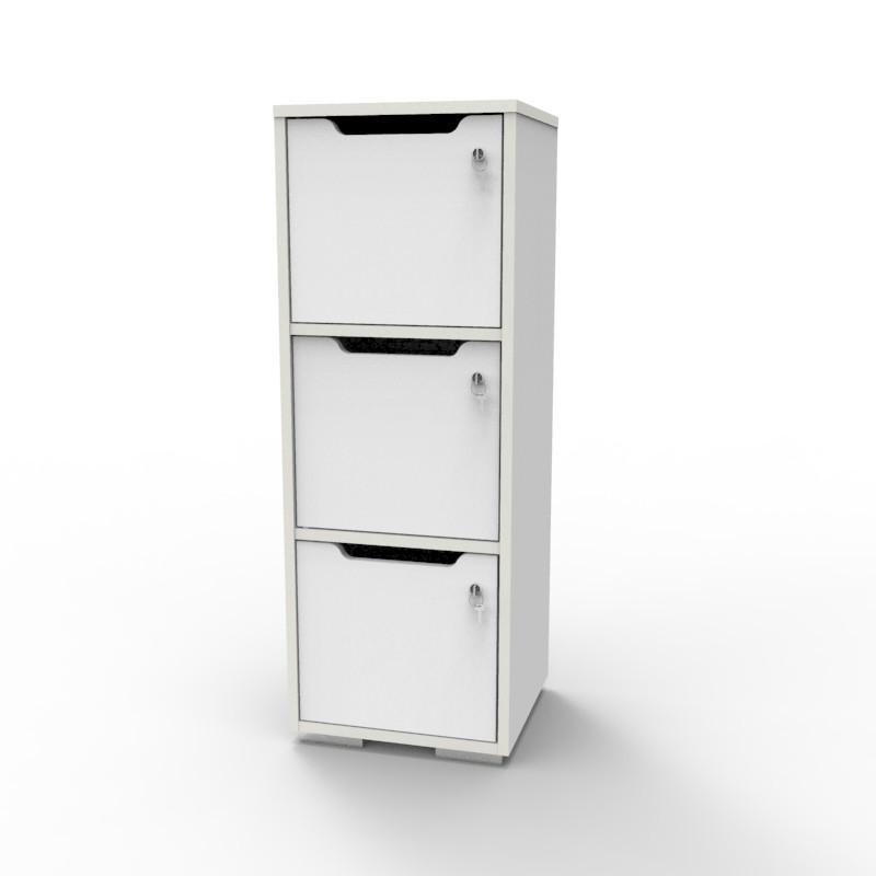 Casier vestiaire bois blanc CASEO à 3 cases convenant pour des salles de conférence et vestiaires collectif en entreprise et association