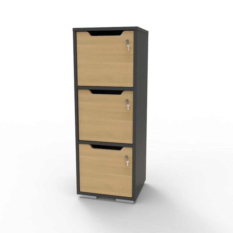 Casier vestiaire bois graphite-chêne CASEO à 3 cases convenant pour des salles de conférence et vestiaires collectif en entreprise et association