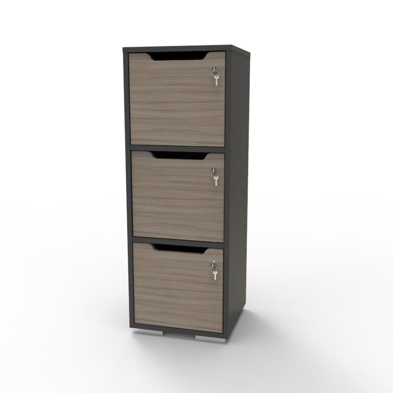 Casier vestiaire bois graphite-driftwood CASEO à 3 cases convenant pour des salles de conférence et vestiaires collectif en entreprise et association