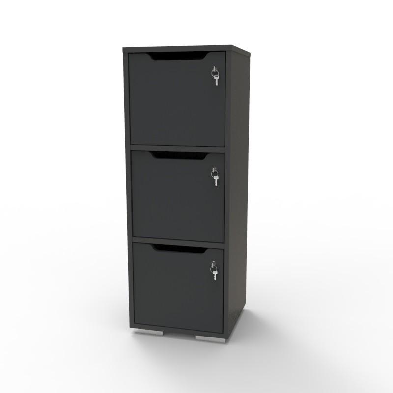 Casier vestiaire bois graphite CASEO à 3 cases convenant pour des salles de conférence et vestiaires collectif en entreprise et association
