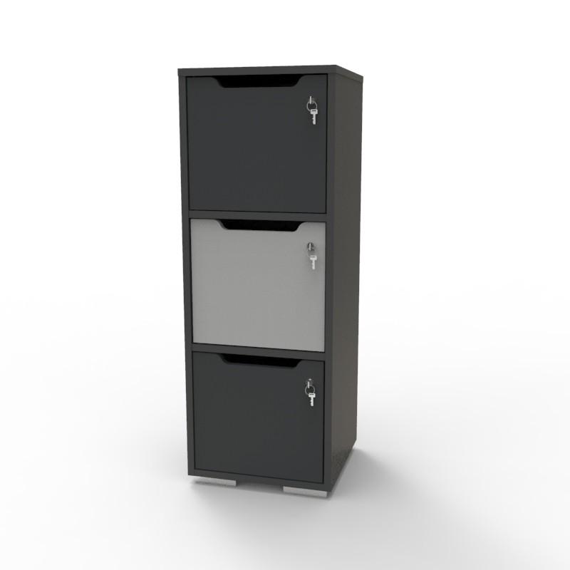 Casier vestiaire bois graphite-gris CASEO à 3 cases convenant pour des salles de conférence et vestiaires collectif en entreprise et association