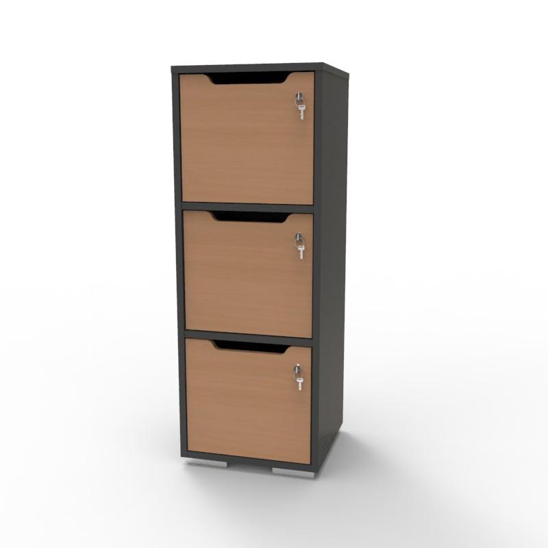 Casier vestiaire bois graphite-hêtre CASEO à 3 cases convenant pour des salles de conférence et vestiaires collectif en entreprise et association