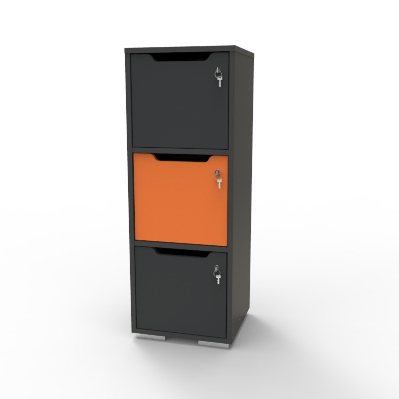 Casier vestiaire bois graphite-orange CASEO à 3 cases convenant pour des salles de conférence et vestiaires collectif en entreprise et association