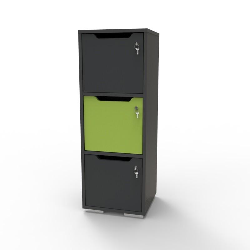 Casier vestiaire bois graphite-vert CASEO à 3 cases convenant pour des salles de conférence et vestiaires collectif en entreprise et association