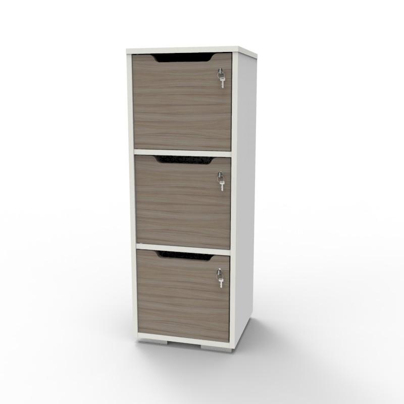 Casier vestiaire bois blanc-driftwood CASEO à 3 cases convenant pour des salles de conférence et vestiaires collectif en entreprise et association