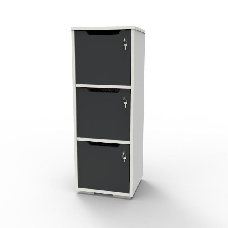 Casier vestiaire bois blanc-graphite CASEO à 3 cases convenant pour des salles de conférence et vestiaires collectif en entreprise et association