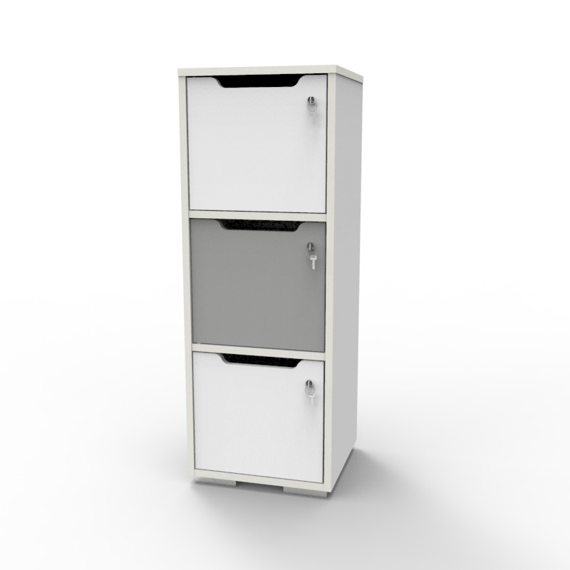 Casier vestiaire bois blanc-gris CASEO à 3 cases convenant pour des salles de conférence et vestiaires collectif en entreprise et association