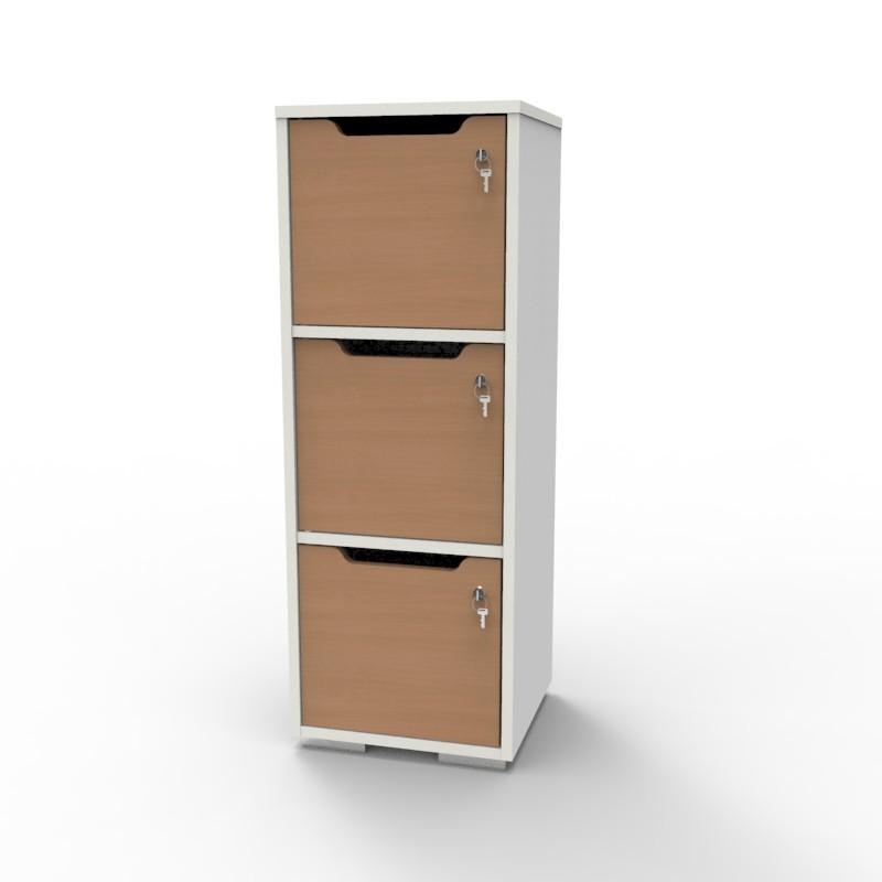 Casier vestiaire bois blanc-hêtre CASEO à 3 cases convenant pour des salles de conférence et vestiaires collectif en entreprise et association