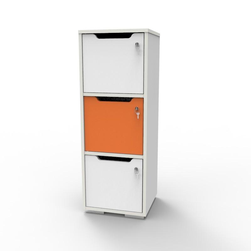 Casier vestiaire bois blanc-orange CASEO à 3 cases convenant pour des salles de conférence et vestiaires collectif en entreprise et association