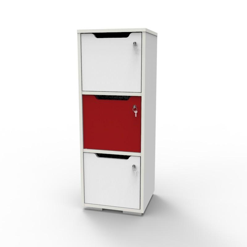 Casier vestiaire bois blanc-rouge CASEO à 3 cases convenant pour des salles de conférence et vestiaires collectif en entreprise et association