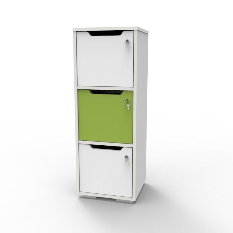 Casier vestiaire bois blanc-vert CASEO à 3 cases convenant pour des salles de conférence et vestiaires collectif en entreprise et association