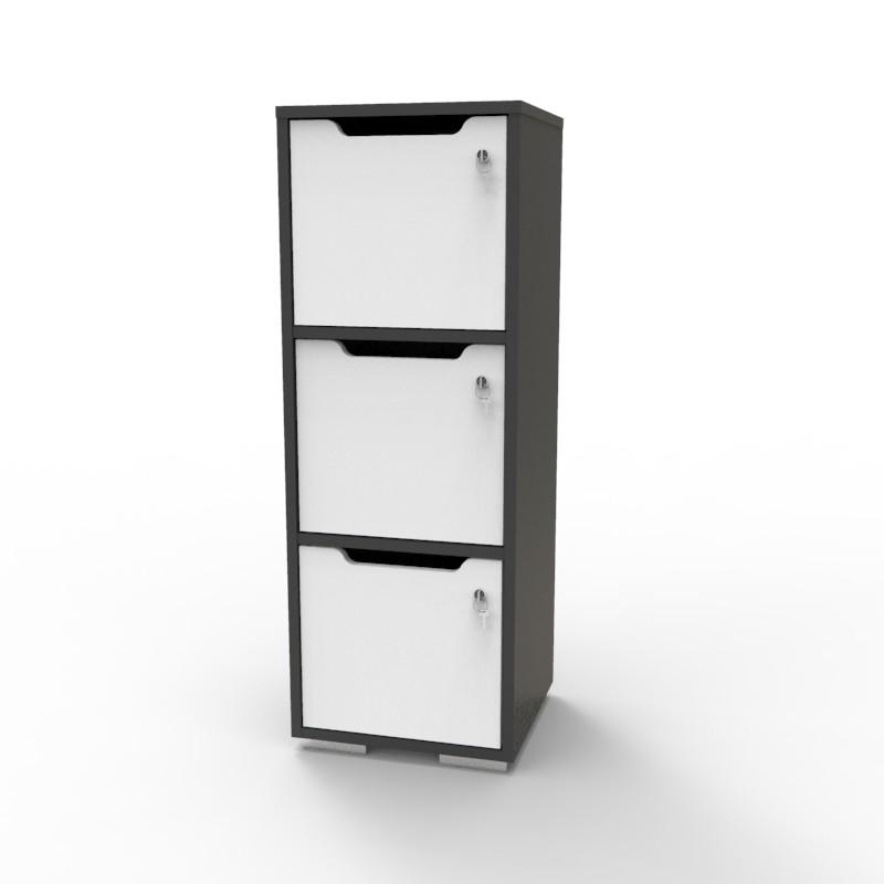 Casier vestiaire bois graphite-balnc CASEO à 3 cases convenant pour des salles de conférence et vestiaires collectif en entreprise et association