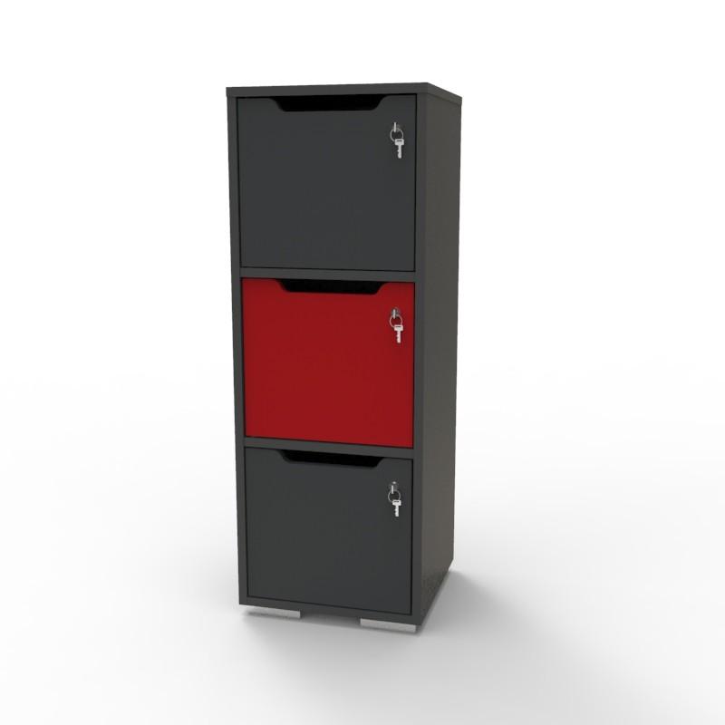 Casier vestiaire bois graphite-rouge CASEO à 3 cases convenant pour des salles de conférence et vestiaires collectif en entreprise et association