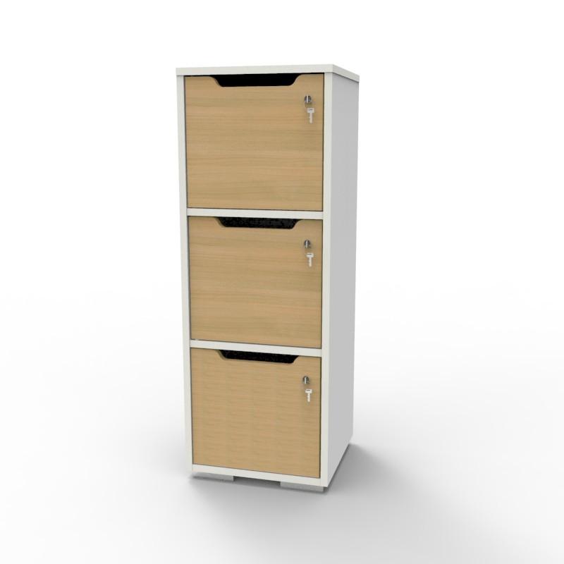 Casier vestiaire bois blanc-chêne CASEO à 3 cases convenant pour des salles de conférence et vestiaires collectif en entreprise et association
