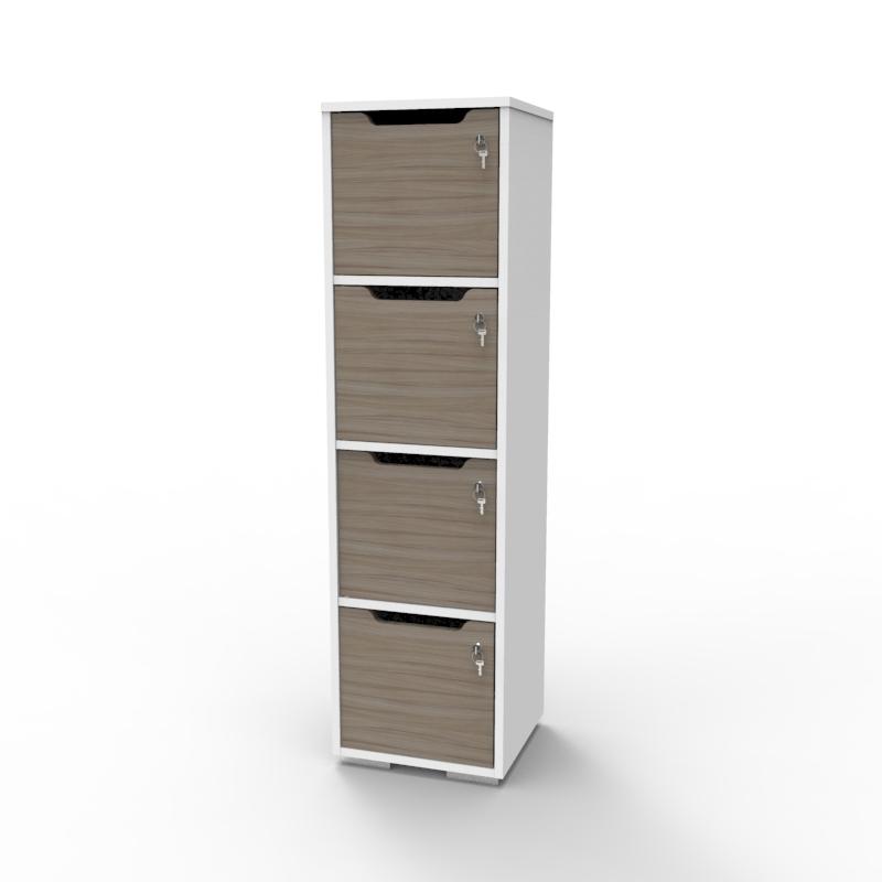 Vestiaire multicases en bois driftwood doté d'un corps blanc avec 4 cases idéal pour des salles de casiers d'universités et écoles