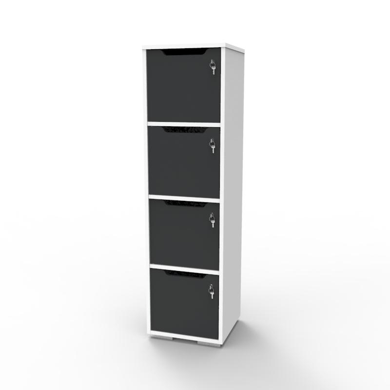 Vestiaire multicases en bois graphite et blanc aux coloris tendances qui se déclinent en différents coloris au choix pour votre structure