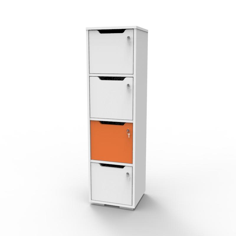 Vestiaire multicases en bois avec une case orange et un corps en blanc qui s'intègre en entreprise et collectivité, casier vestiaire bois livré monté et fabriqué en France