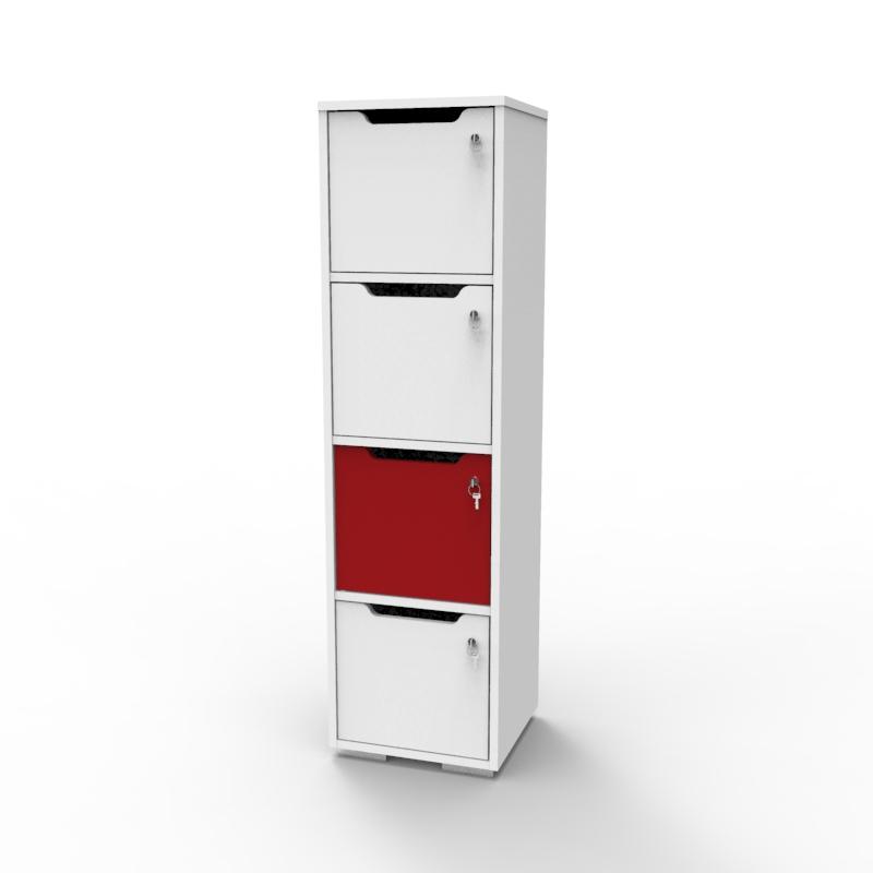 Vestiaire multicases en bois rouge décliné en plusieurs coloris pour convenir à des chr : collectivité / hôtel / resto