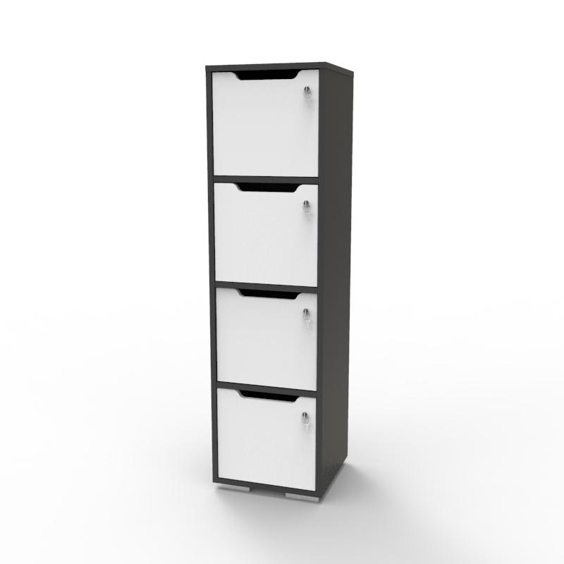 Vestiaire multicases en bois en blanc et graphite décliné en plusieurs coloris et fabriqué en france pour des entreprises et collectivités souhaitant acquérir un meuble de rangement en bois de qualité