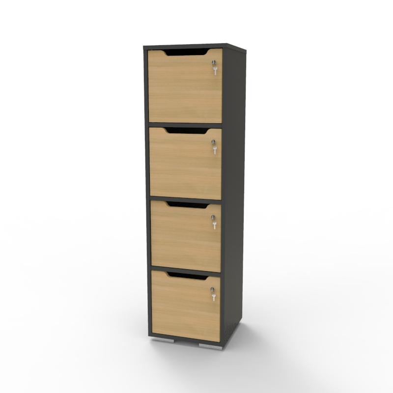 Vestiaire multicases en bois chêne et corps graphite qui est disponible en plusieurs coloris et avec plusieurs options de serrures à clé