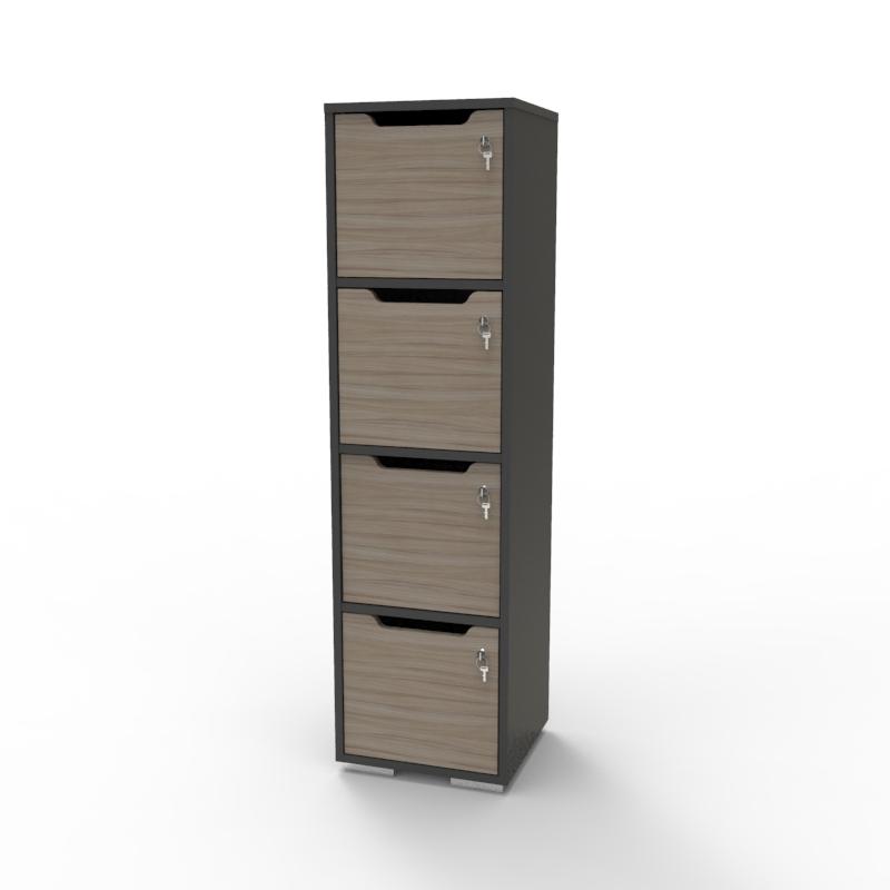 Vestiaire multicases en bois driftwood / graphite CASEO 4 cases qui convient en vestiaire collectif / piscine / salle de fitness / hôpital