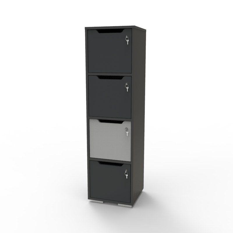 Vestiaire multicases en bois gris / graphite CASEO 4 cases avec serrure à clé dont d'autres options de serrures disponibles en Vente Directe PME