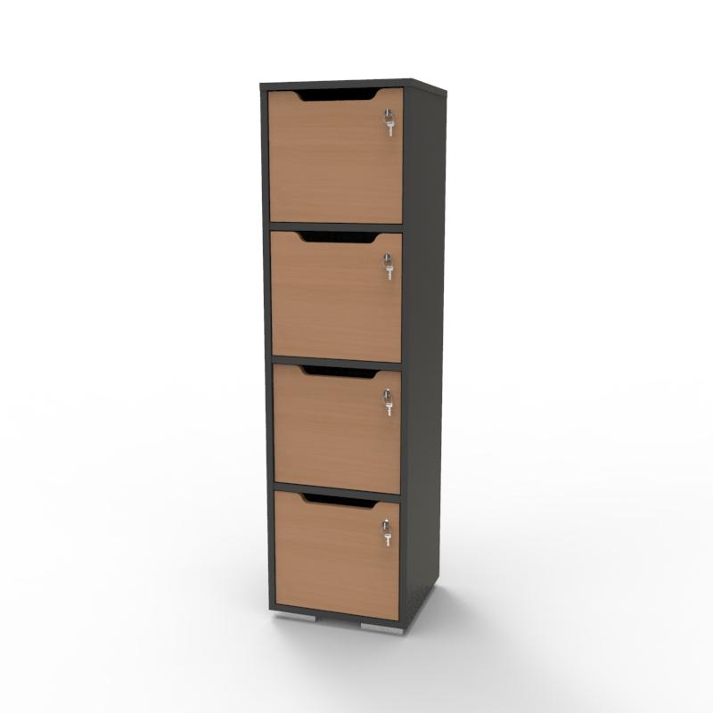 Vestiaire multicases en bois hêtre et graphite avec 4 cases de la gamme de casiers vestiaire bois CASEO sur Vente Directe PME