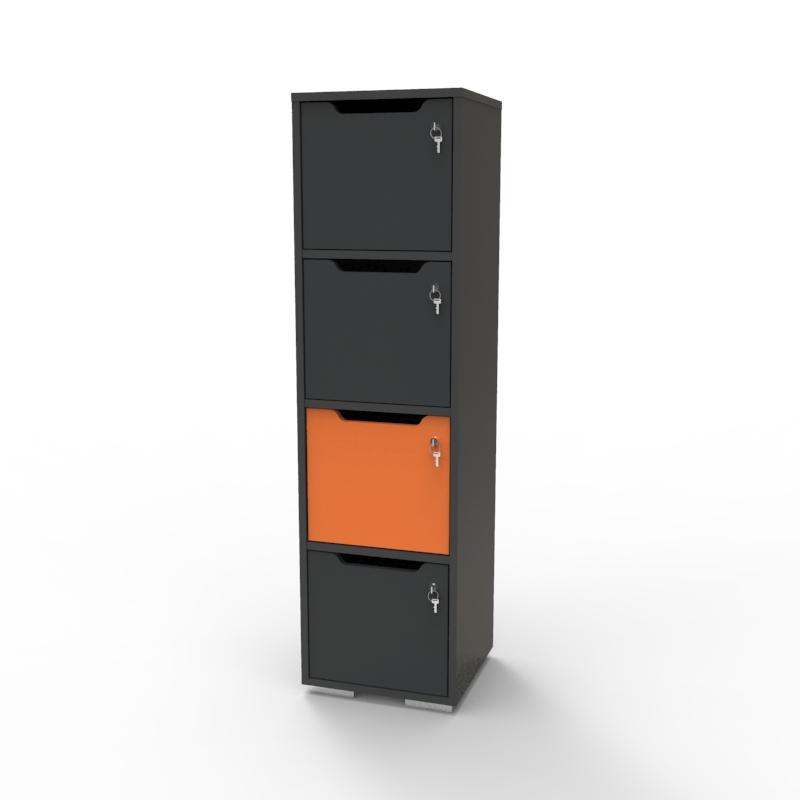 Vestiaire multicases en bois orange / graphite parmi la gamme de vestiaires bois CASEO sur la boutique en ligne Vente Directe PME