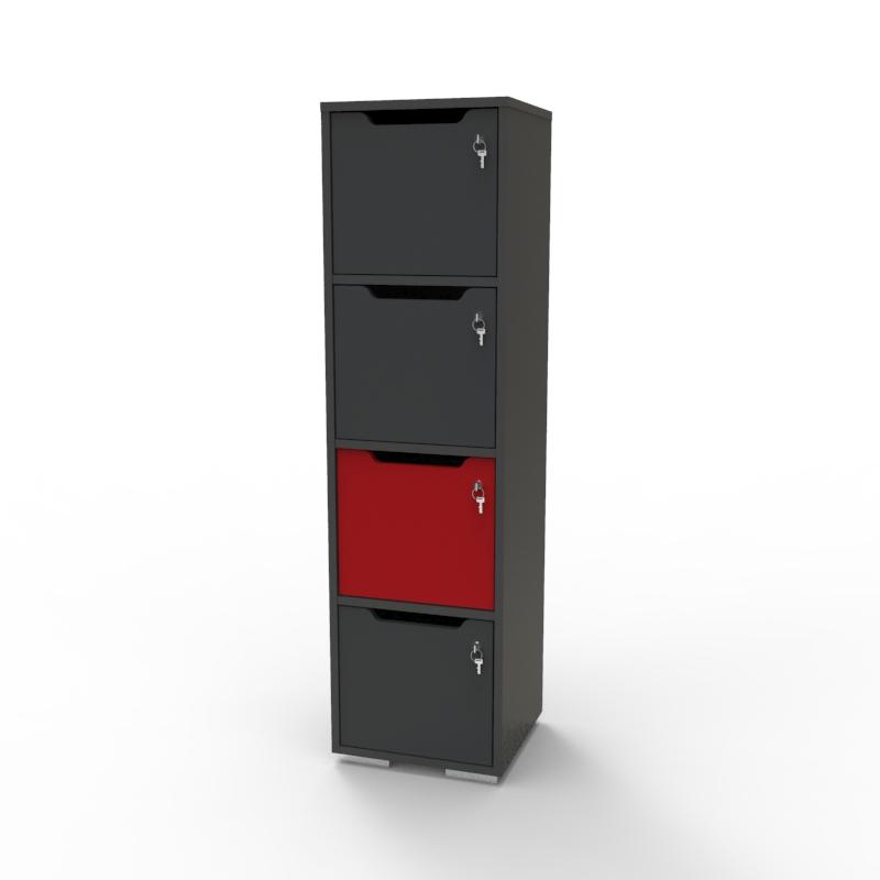 Vestiaire multicases en bois rouge et graphite pour entreprise / collectivité et association, casier vestiaire bois livré monté et fabriqué en france