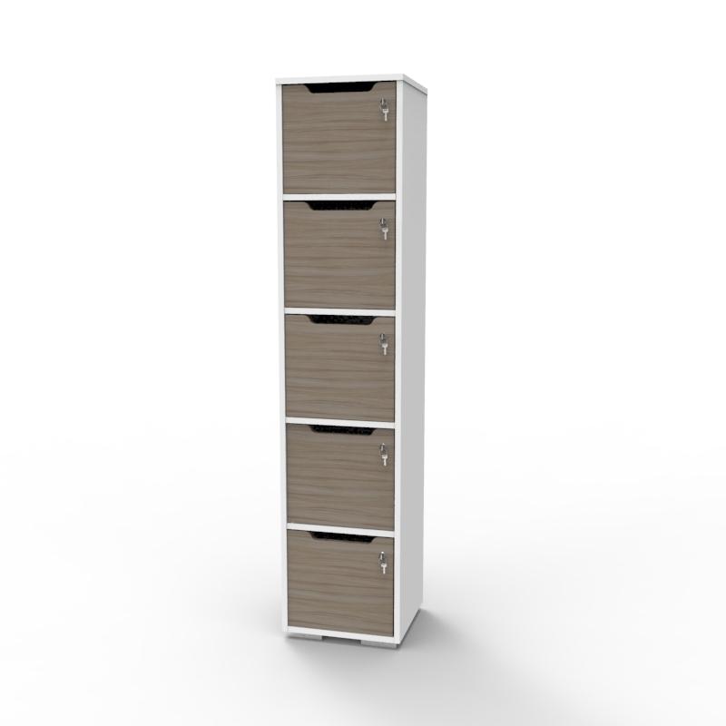 Vestiaire de bureau en bois driftwood et blanc convenant pour entreprise et mairie / communauté de communes souhaitant faire l'achat d'un casier vestiaire bois de qualité